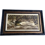 Evelyn Macintosh, Shades and Shadows Snow Covered Forest Stream Landscape Oil painting Signed by Indiana Artist