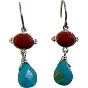Vintage Sterling Silver 925 Coral & Turquoise Colored Pierced Earrings Jewelry 1-1/4""