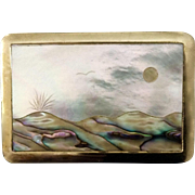 Vintage 1970's Abalone Shell Brass Buckle With Volcano, Mountains, Birds and Sun