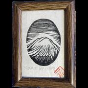 Vintage Miniature Mount Rainier Woodcut Print Stamped By Artist
