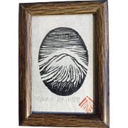 Vintage Miniature Mount Rainier Woodcut Print Stamped By Artist