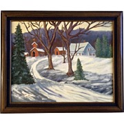 D C Deweese, Primitive Rural Country Town Covered in Snow Oil Painting Signed by Artist