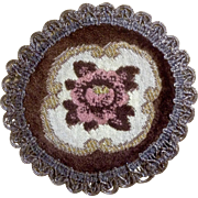 Gorgeous Victorian Small Round Tapestry Rose Doily Metallic Lace Trim
