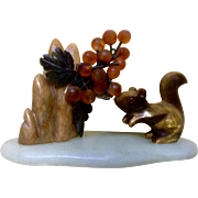Vintage Mixed Gemstones Squirrel, Berries, Leaves, Trees on a Stand Carved Figurine Scene