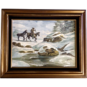 L. Amaro, Hunting Settler in Snow Landscape Western Oil Painting on Canvas Signed by Artist