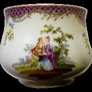 Vintage RK Richard Klemm Dresden Hand Painted Vase Bowl Victorian Figures Gold Trim Ceramic Pottery
