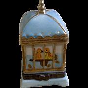 Adorable Porcelain Little Birdie Bird Cage Hinged Trinket Box