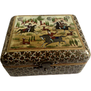 Vintage Persian Wood Hand Painted Trinket Box Khatam Type Middle East Men on Horses Hunt Scene
