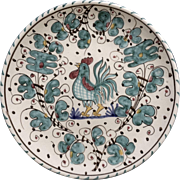 "Vintage Italy Blue Rooster Hand Painted Pottery 7-1/2"" #18 Italian Plate"