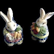 1993 Fitz & Floyd Adorable Garden Bunny Rabbit Salt & Pepper Shakers