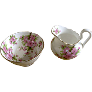 Peach Blossom Chelsea England Cream and Sugar Bowl Black Anchor Longton Ceramics