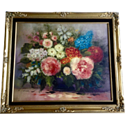 J Karel, Floral Still Life Oil Painting on Canvas Signed By Artist