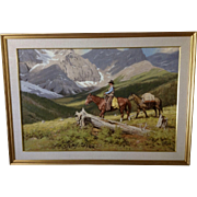 Richard Audley Freeman (1932-1991) Large Landscape Oil Painting, Cowboy Riding in the High Country Listed Canadian Artist