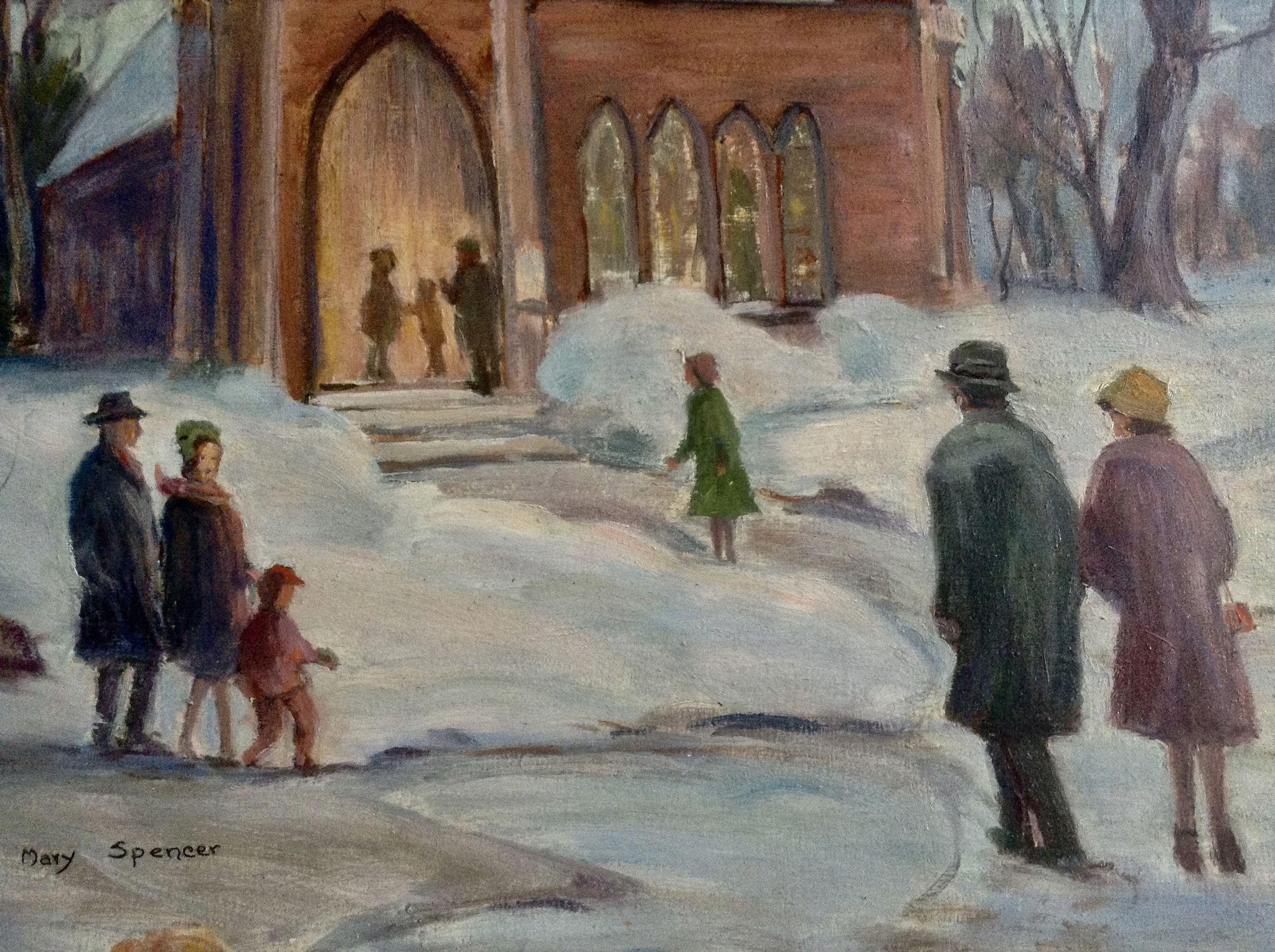 Mary Spencer Oil Painting Figural People Going To Church