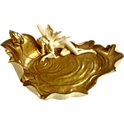 Veronese Gorgeous Fairy Girl with Wings Laying on a Gold Leaf, Golden Pond Fantasy Statue Figurine Plate