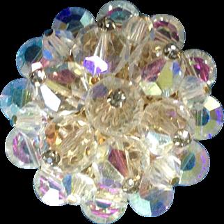 "Aurora Borealis Sparkle Burst Rhinestone Pin Costume Jewelry 1-1/2"""
