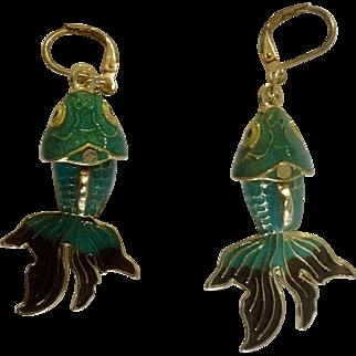 Enamel Painted Fintail Koi Fish Hanging Green Aquamarine Gold Tone Pierced Earrings