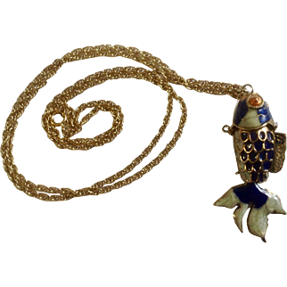 """Fintail Koi Fish Hanging Necklace Enamel Gold Tone Costume Jewelry 29-1/2"""""""