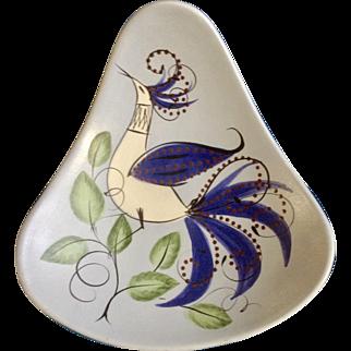 Vintage Blue Peacock Bird Bowl California Pottery Three Footed Retro Modern Mid-Century Plate