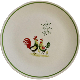 """Family Affair Pattern Horizon by Steubenville Rooster with Hen and Chicks 10-1/4"""" Single Dinner Plate Setting"""