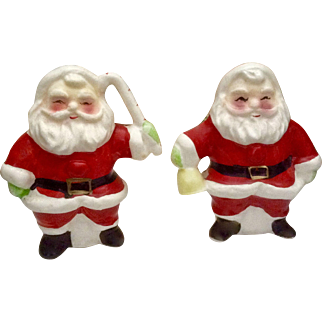 Vintage Santa Salt and Pepper Shakers One Holding a Candy Cane and the Other a Bell Ceramic Figurines