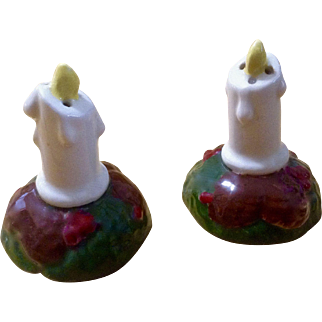 Vintage Christmas Candle Salt and Pepper Shakers Ceramic