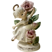 Vintage Lefton's June 985 Flower Girl of the Month Ceramic Figurine Geo Z Lefton Made in Japan