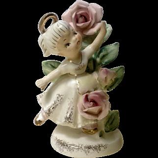 Vintage Lefton's June 985 Flower Girl of the Month Ceramic Figurine Geo Z Lefton Made in Japan
