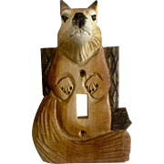Adorable Hand Carved Squirrel Wood Light Switch Cover