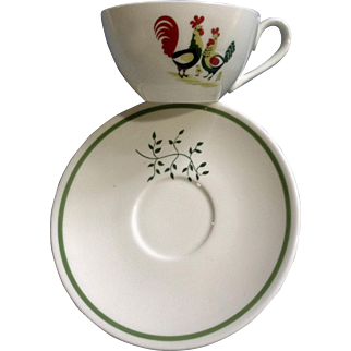 Family Affair Pattern Horizon by Steubenville Rooster with Hen and Chicks Tea or Coffee Cup and Saucer Plate