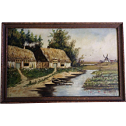 H. M. C., Wilda, Antique Dutch Landscape Windmill Thatched Roof Houses Oil Painting Initialed By Artist