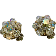 Faux Crystal Aurora Borealis Beaded Clip on Earrings Costume Jewelry