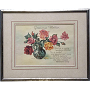 Vintage 1950's Greetings Mothers Day Floral Poem Print Picture