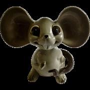 Vintage Mid-Century Norcrest Nodder Bobble Head Gray Mouse Ceramic Big Eared Japan Figurine A381