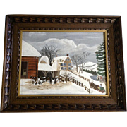 J H L Primitive Folk Art Painting Christmas Winters Day with Figural People and Animals, Acrylic Landscape on Canvas Board