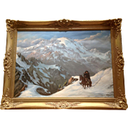 Jorge W. Ewerbeck L, Chilean Huaso Cowboy Looking for Lost Animals in the Cordilleras Andes Mountains Landscape Oil Painting South American Listed Chile Artist