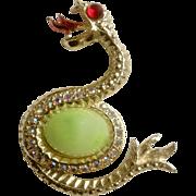 Vintage Aurora Borealis Snake Rhinestone Gold Tone Costume Jewelry Pin