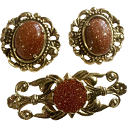 Goldstone Set of Clip On Earrings and Matching Brooch Pin Costume Jewelry