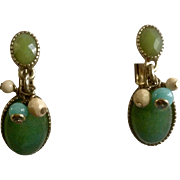 Liz Claiborne Clip On Earrings Gold Tone Settings with Faux Turquoise Stones and Beads Costume Jewelry Marked