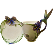 Long Tail Hummingbird by Franz Collection Coffee or Tea Cup and Saucer FZ00129 Blue and Purple Iris Flowers