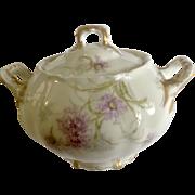 Vintage Large Sugar Bowl Saint Cloud Theodore Haviland Limoges France Dainty Purple Flowers with Gold Handles