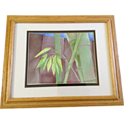 Lynn Musaeus Two Lady Bugs Ladybirds on Bamboo, Original Watercolor Painting Works on Paper, Signed by Artist