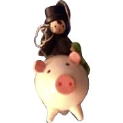 Erzgebirge Wooden Irish Chimney Sweeper Riding a Pig Germany Hand Made Christmas Tree Ornament Figurine
