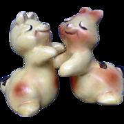 Vintage Bunny Rabbit Hug Salt and Pepper Shakers Van Tellingen Ceramic S & P Figurines