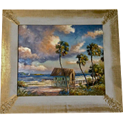 Sam Newton (b.1948) Florida Highwaymen Beach Bungalow Oil Painting on Board Signed By Listed Artist