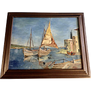 R. Bezner Nautical Sailboats Oil Painting on Board Signed By German Artist