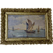 Venetian Seascape Boats on the Water Oil Painting on Board Signed by Artist