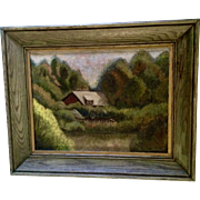 H. Vaughan, Oil Painting Woodland Landscape Home on River Signed by Artist