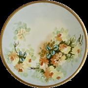 "Vintage Jean Pouyat (JP) Limoges France Hand Painted Floral Motif Gold Rim Plate 8-1/2"" Hand Painted"