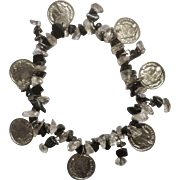 "Vintage Emperor Napoleon Bonaparte Coin and Polished Black & Clear Glass Beads Bracelet 9"""